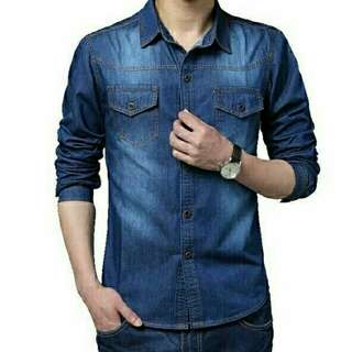 KB Tomiko dark blue kemeja mat jeans tebal ld 110 pjg 70