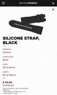 Original 28mm Silicon Watch Strap / band for SevenFriday