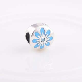 Code MS82 - Blue Flower Bead 100% 925 Sterling Silver Charm, Chain Is Not Included, Compatible With Pandora