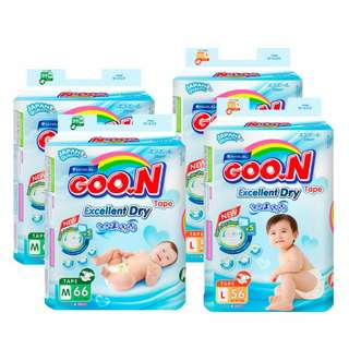 🚚 *Pre-order* Goo.N Super Jumbo Tape Diapers Excellent Dry (Japan Quality) | M66 / L56 / XL50