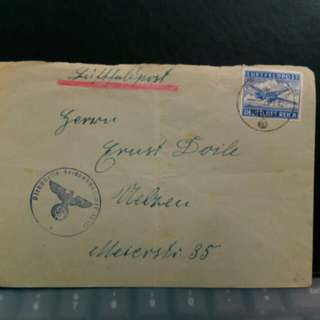 1942 Germany stamp on envelop, Military Air Post, Hitler era