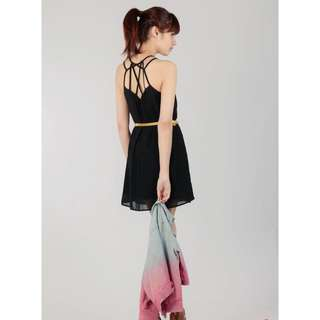 TVD Lattice Back Chiffon Dress in Black (Size S)