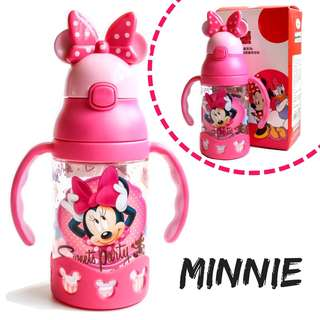 Disney Minnie Water Bottle Learning Cup With Straw BPA-Free 400ml