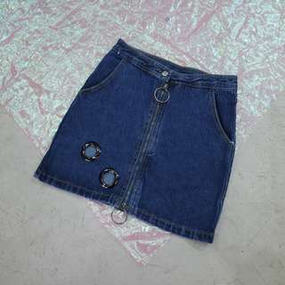 圓環拉鍊透孔圓環造型牛仔短裙