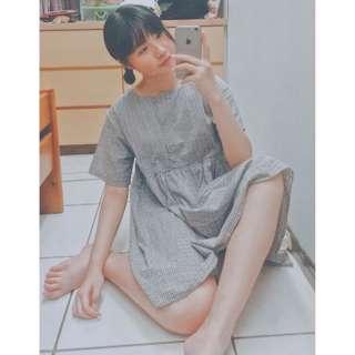 棉麻格子排扣洋裝