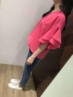 🚚 《正韓》雙層袖荷葉衫 黃   杏  白  粉  紅  寶藍  桃   綠  黑  深藍