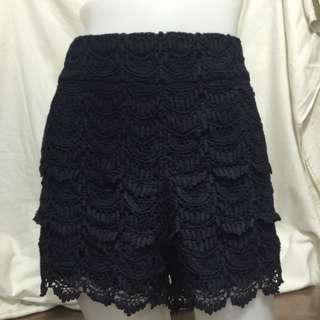 ANN LOFT black crochet plus size ladies sexy/walking shorts10