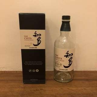 Empty Suntory Chita Whiskey bottle with box