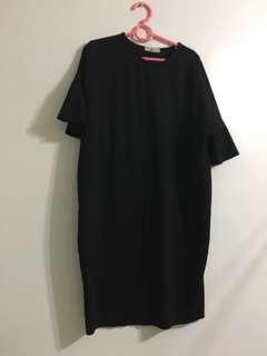韓國製 荷葉袖裙 黑 洋裝