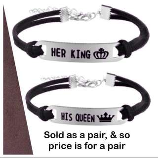 Suede Cord Her King His Queen Couple / Lovers / Valentine Bracelets [anniversary day lovers couples gifts presents uncle.anthony uncle anthony uac ] FOR MORE PHOTOS & DETAILS, GO HERE: 👉 http://carousell.com/p/148936900