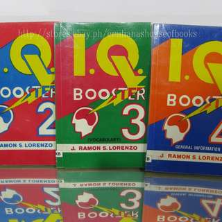 3PCS.EDUCATIONAL BOOKS I.Q. BOOSTER 2,3,4 GENERAL INFORMATION BY J. RAMON S. LORENZO
