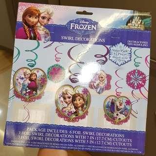 Disney Frozen Birthday Backdrop & Swirl Decoration