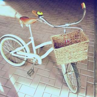 Vintage Bicycle with Basket (Light Yellow)