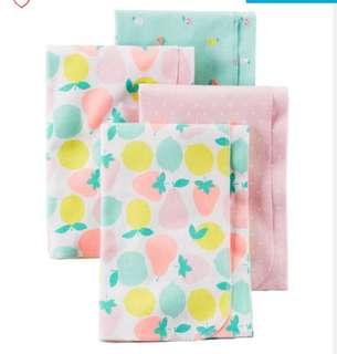 Brand New Carter's Babysoft Receiving Blankets For Baby Girl