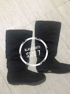 Black knee high flat boots