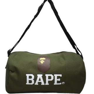 Bape Army Green Ape Duffle Gym Round Cylinder Bag