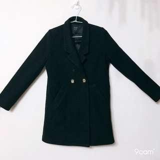 🚚 黑/駝 雙邊釦大衣 S 可自由變換左右襟 #換季五折