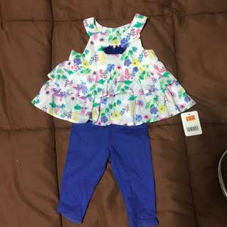 Baby Girl Flower Top and Blue Tights