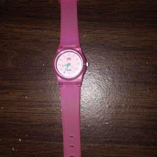 Qnq cute pink transparant watch