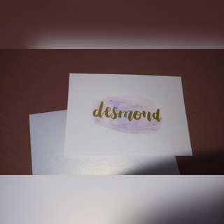 WaterColour Calligraphy Card