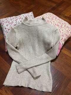 杏色津領保暖毛衣