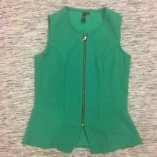 (Sales) Green Sleeveless Peplum Top