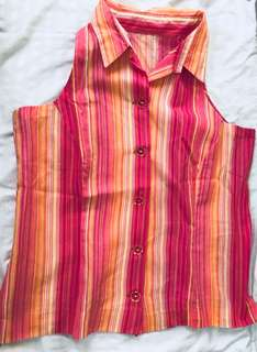 Halter Buttondown in Pink Stripes