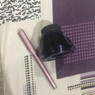 SHEAFFER Fountain Pen (pink) and Ink (blue)