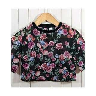 H&M floral sheer crop top