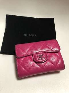 Chanel 桃紅色wallet coins bag card holder錢包銀包