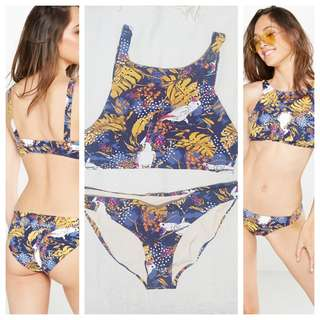 New Cotton On Halter Neck Navy Blue Yellow Floral Bikini Two Piece Swimsuit (MULTIPLE SIZES AVAILABLE) RRP+P1500