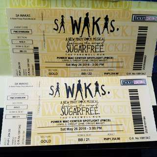 [REPRICED] Sa Wakas: The Farewell Run Gold Tickets (2) for May 26 3pm show