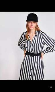 🚚 Europe and the United States striped belt dress