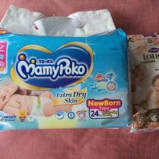 MamyPoko Newborn Dispers + shower hat @$10