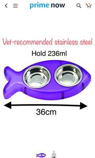 Vet-recommended stainless steel bowl Loving Pets Pesce Double Diner Bowl for Cats, Purple, Small