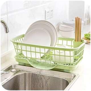 多功能廚房瀝水置物架-綠