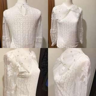 全新白色蕾絲優雅上衣