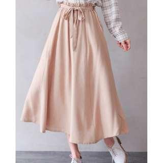 ~早春款~甜美花苞腰附綁帶隱藏口袋車線棉麻長裙-卡其色