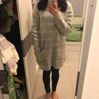 正韓 厚針織棉質舒適 長版上衣 洋裝