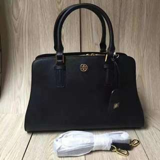 Tory Burch Leather Curved Robinson Black Bag