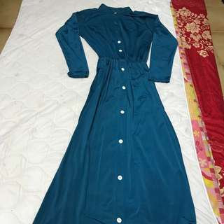 Turqouise Button Maxi Long Dress Comfortable Pretty Cute Beautiful Instock