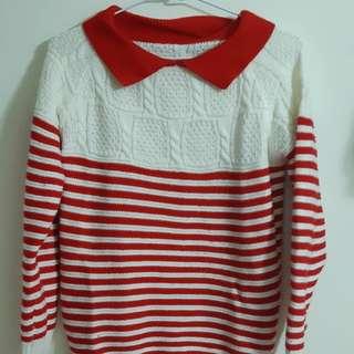 🚚 正韓紅白橫條針織衣 (超溫暖)  #女裝半價拉 #畢業一百元出清