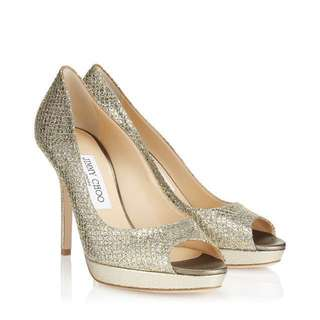 Authentic Jimmy Choo Gold Peep Toe With Suede soles