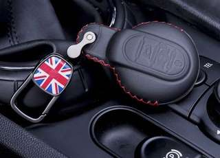 MINI Leather Key Pouch (Black Leather Red Stitch Union Jack Keychain)
