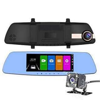 "7"" Inches Touch Screen Dual Lens Car Camera Rearview Mirror DVR"