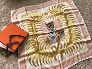 Hermes Silk Scarf 60x60cm Royal Tiger