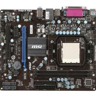 微星 NF725GM-P43 全固態電容主機板、AM3腳位、支援DDR3、PCI-E、拆機良品、附擋板