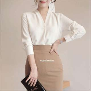 (Ready Stock KL) Woman Blouse Long Sleeve Shirt  Chiffon Casual Top Plain OL Shirt Office Wear