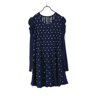 專櫃品牌【M.L.Z】 藍色水玉點點皺摺款彈力長袖針織洋裝