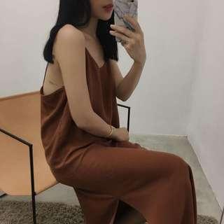 Nude店內款 磚紅色細肩帶背心洋裝 studiodoe